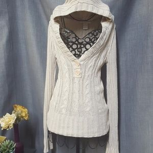 Charlotte Russe Vneck Hooded Sweater